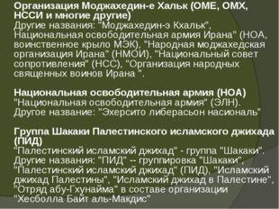 Организация Моджахедин-е Хальк (ОМЕ, ОМХ, НССИ и многие другие) Другие назва