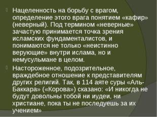Нацеленность на борьбу с врагом, определение этого врага понятием «кафир» (не