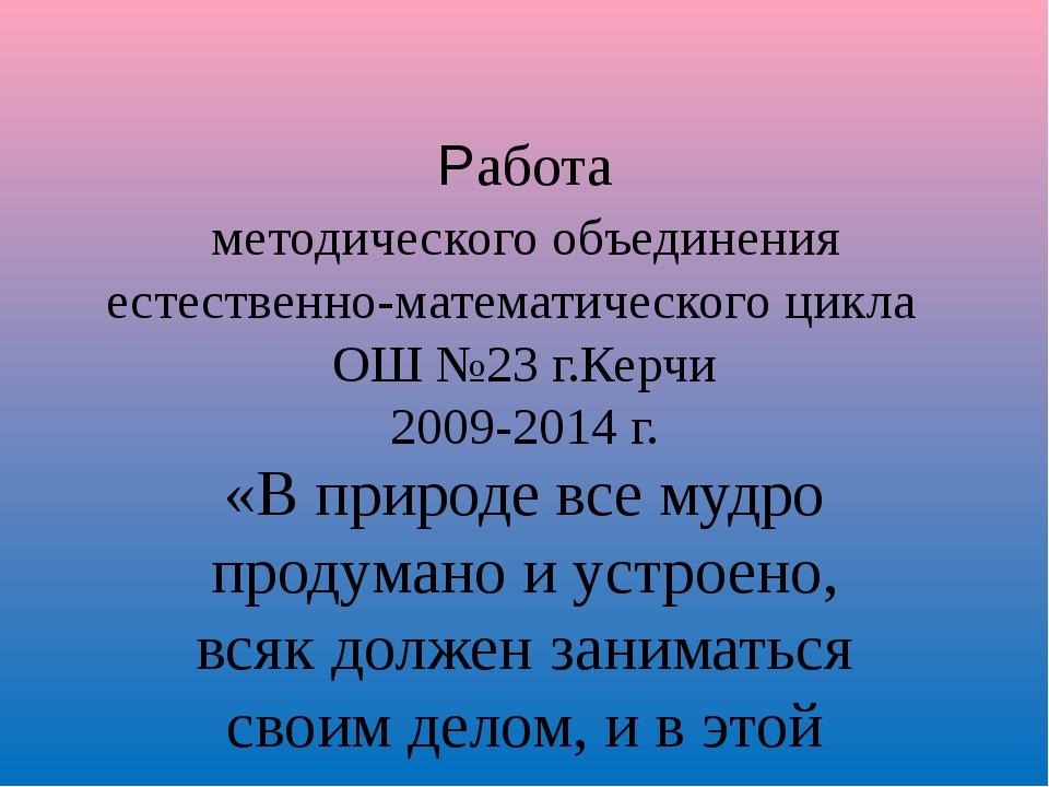 Работа методического объединения естественно-математического цикла ОШ №23 г.К...