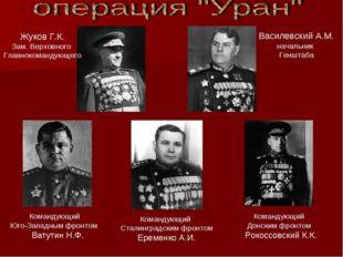 Жуков Г.К. Зам. Верховного Главнокомандующего Василевский А.М. начальник Генш