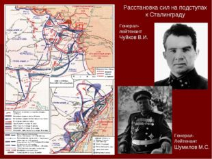 Расстановка сил на подступах к Сталинграду Генерал-лейтенант Чуйков В.И. Гене