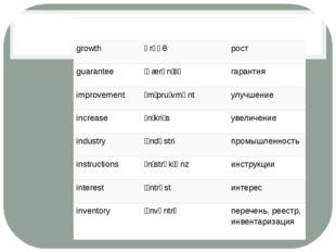 goods ɡʊdz товары growth ɡrəʊθ рост guarantee ˌɡærənˈtiː гарантия improvemen