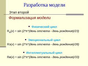 Разработка модели Этап второй Формализация модели Физический цикл Rф(х) = sin