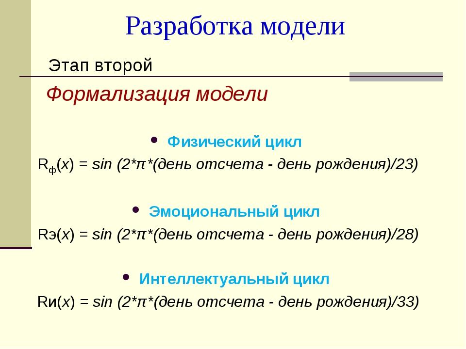 Разработка модели Этап второй Формализация модели Физический цикл Rф(х) = sin...
