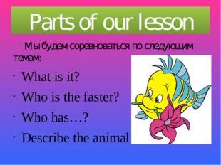 Parts of our lesson Мы будем соревноваться по следующим темам: What is it? W