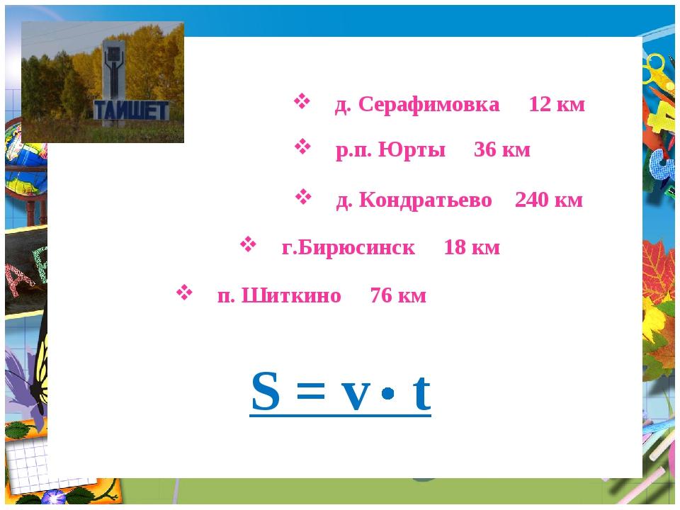 д. Серафимовка 12 км д. Кондратьево 240 км р.п. Юрты 36 км п. Шиткино 76 км...