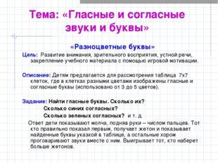 Тема: «Гласные и согласные звуки и буквы» «Разноцветные буквы» Цель: Развитие