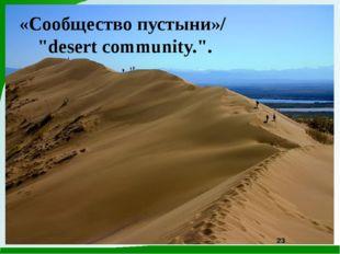 """«Сообщество пустыни»/ """"desert community."""". 23"""