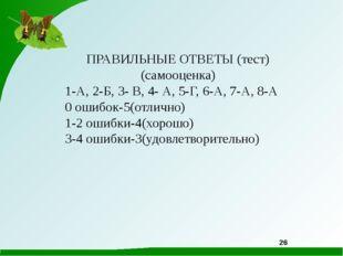 ПРАВИЛЬНЫЕ ОТВЕТЫ (тест) (самооценка) 1-А, 2-Б, 3- В, 4- А, 5-Г, 6-А, 7-А, 8-