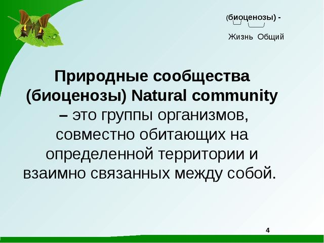 Природные сообщества (биоценозы) Natural community – это группы организмов,...