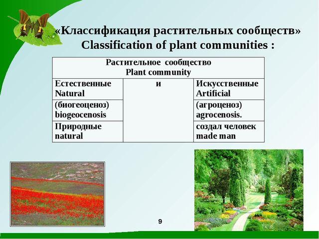 9 «Классификация растительных сообществ» Classification of plant communities...
