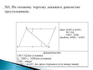Дано: ∆АВС и ∆АDС; ВС=АД; СВD= АDВ; Доказать: ∆АВС = ∆АDС Доказательство: В