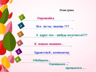 План урока К новым знаниям… 4 Опрошайка 1 Все ли ты знаешь ??? 2 А вдруг что