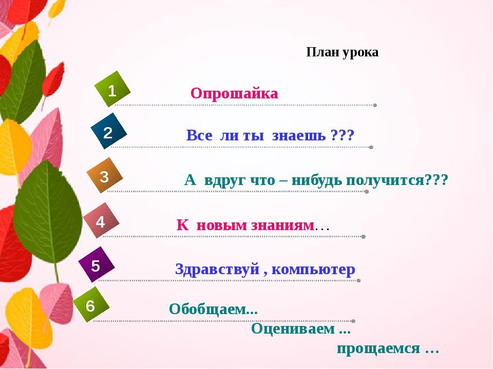План урока К новым знаниям… 4 Опрошайка 1 Все ли ты знаешь ??? 2 А вдруг что...