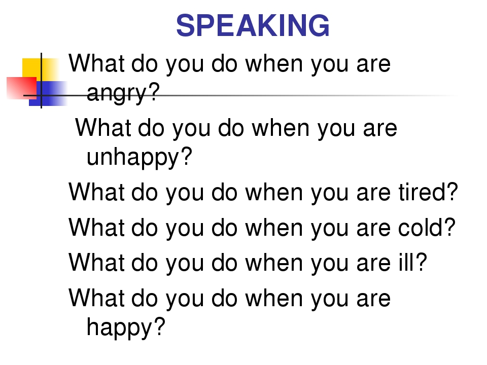 SPEAKING What do you do when you are angry? What do you do when you are unhap...