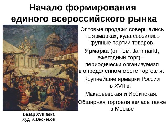 Начало формирования единого всероссийского рынка Оптовые продажи совершались...