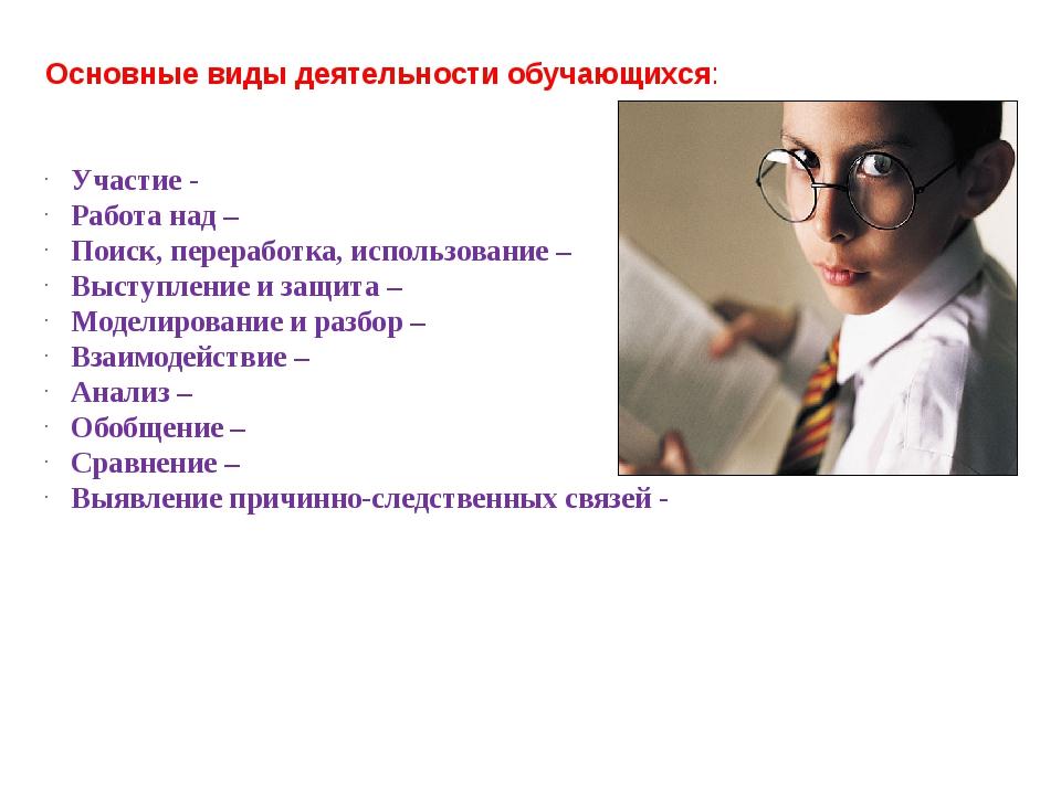 Основные виды деятельности обучающихся: Участие - Работа над – Поиск, перераб...