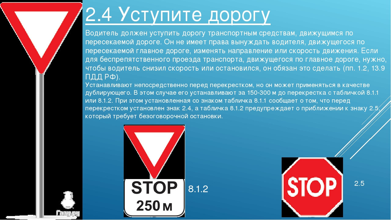 2.4 Уступите дорогу Водитель должен уступить дорогу транспортным средствам, д...