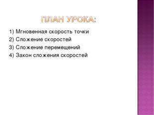 1) Мгновенная скорость точки 2) Сложение скоростей 3) Сложение перемещений 4)