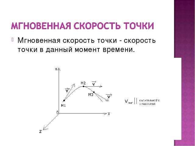 Мгновенная скорость точки - скорость точки в данный момент времени.