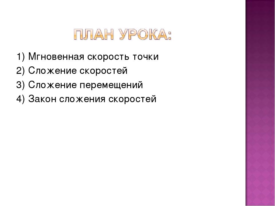 1) Мгновенная скорость точки 2) Сложение скоростей 3) Сложение перемещений 4)...