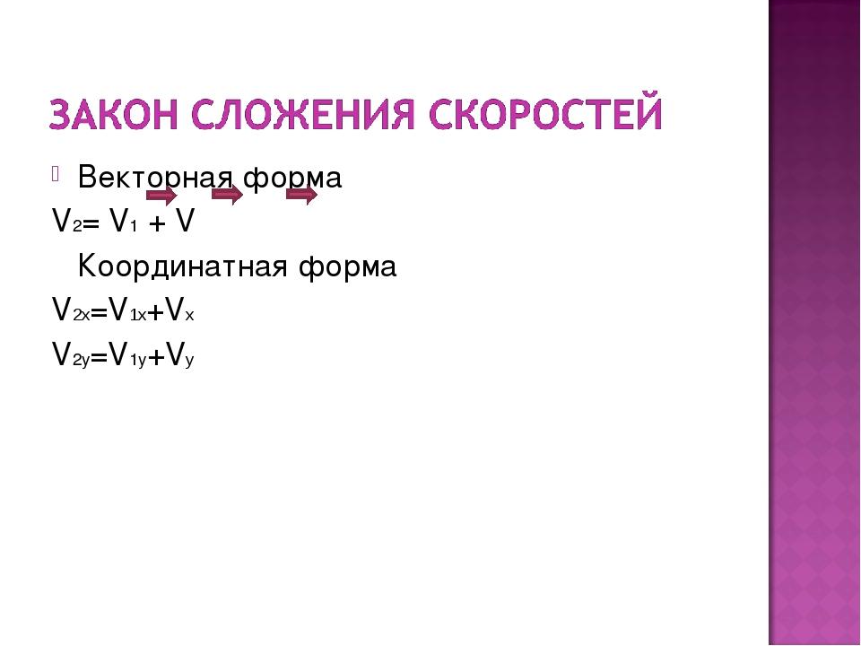 Векторная форма V2= V1 + V Координатная форма V2x=V1x+Vx V2y=V1y+Vy