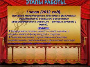 I этап (2012 год). Изучение теоретических подходов и физических возможностей