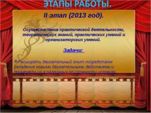 II этап (2013 год). Осуществление практической деятельности, теоретических зн