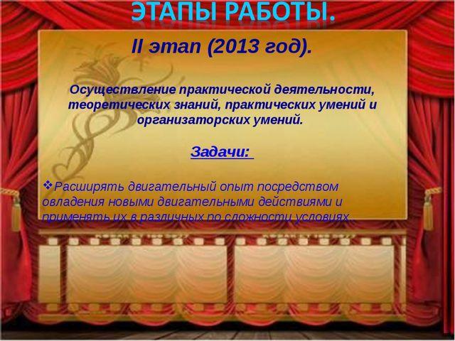 II этап (2013 год). Осуществление практической деятельности, теоретических зн...