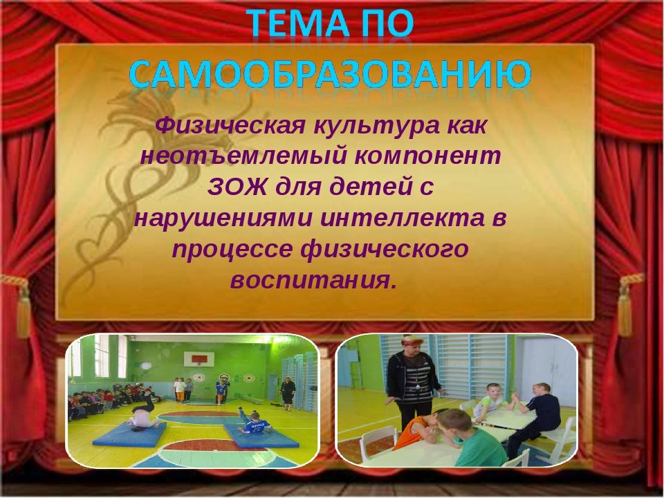 Физическая культура как неотъемлемый компонент ЗОЖ для детей с нарушениями ин...