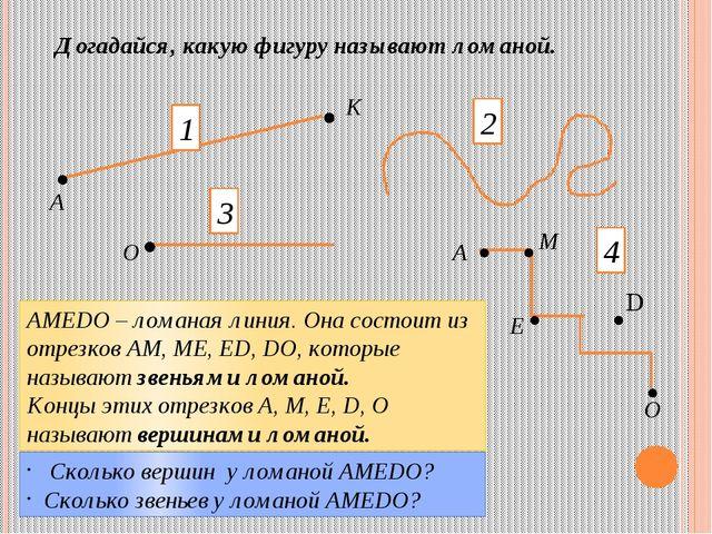 Догадайся, какую фигуру называют ломаной. . . . . . . . . 2 А К О А М Е О 1 3...