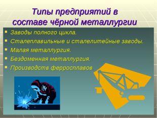 Типы предприятий в составе чёрной металлургии Заводы полного цикла. Сталеплав
