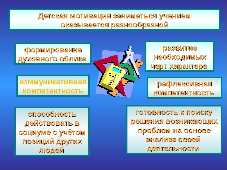 Детская мотивация заниматься учением оказывается разнообразной формирование...
