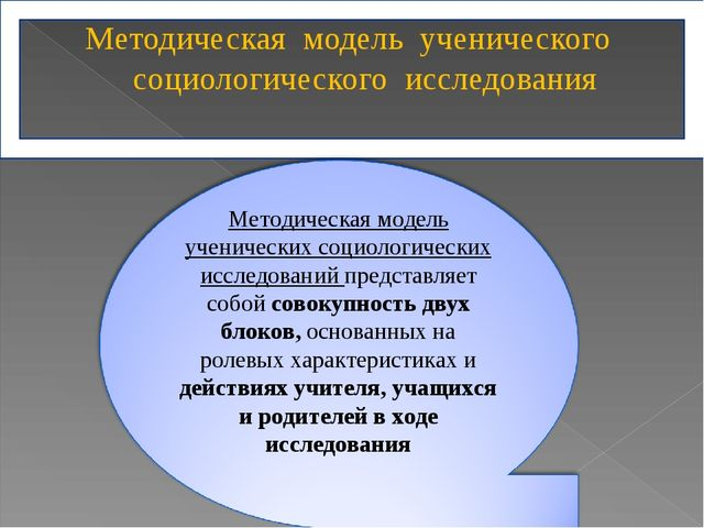 Методическая модель ученического социологического исследования