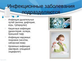 Инфекционные заболевания подразделяются Инфекции дыхательных путей (ангина, д