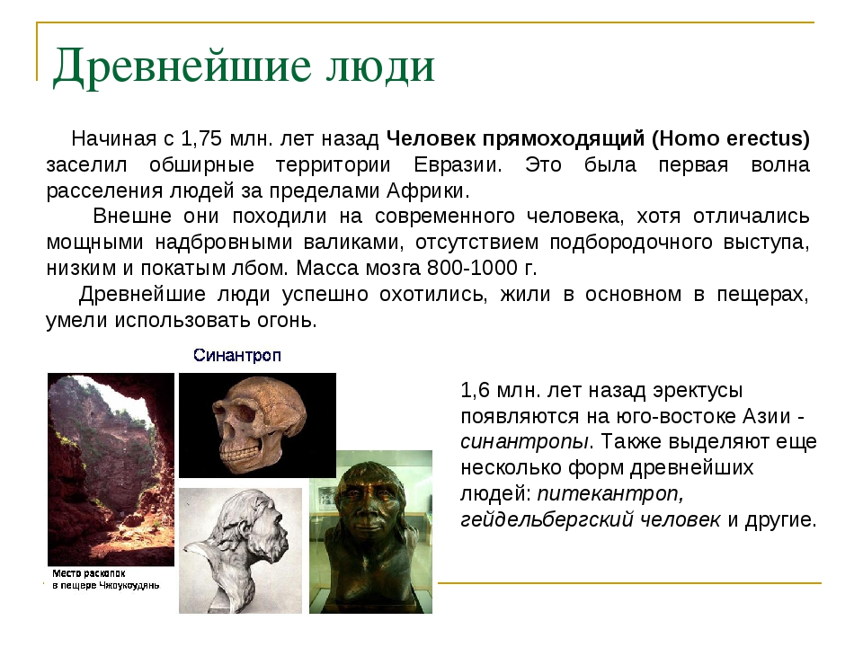 Древнейшие люди Начиная с 1,75 млн. лет назад Человек прямоходящий (Homo erec...