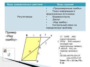 Пример «Ищу ошибку» 1. СЕF= AED (односторонние), СFE= EAD (накрест лежащи
