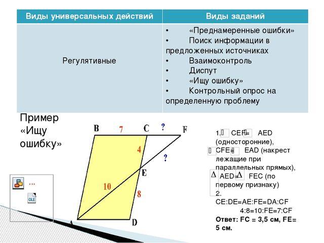 Пример «Ищу ошибку» 1. СЕF= AED (односторонние), СFE= EAD (накрест лежащи...