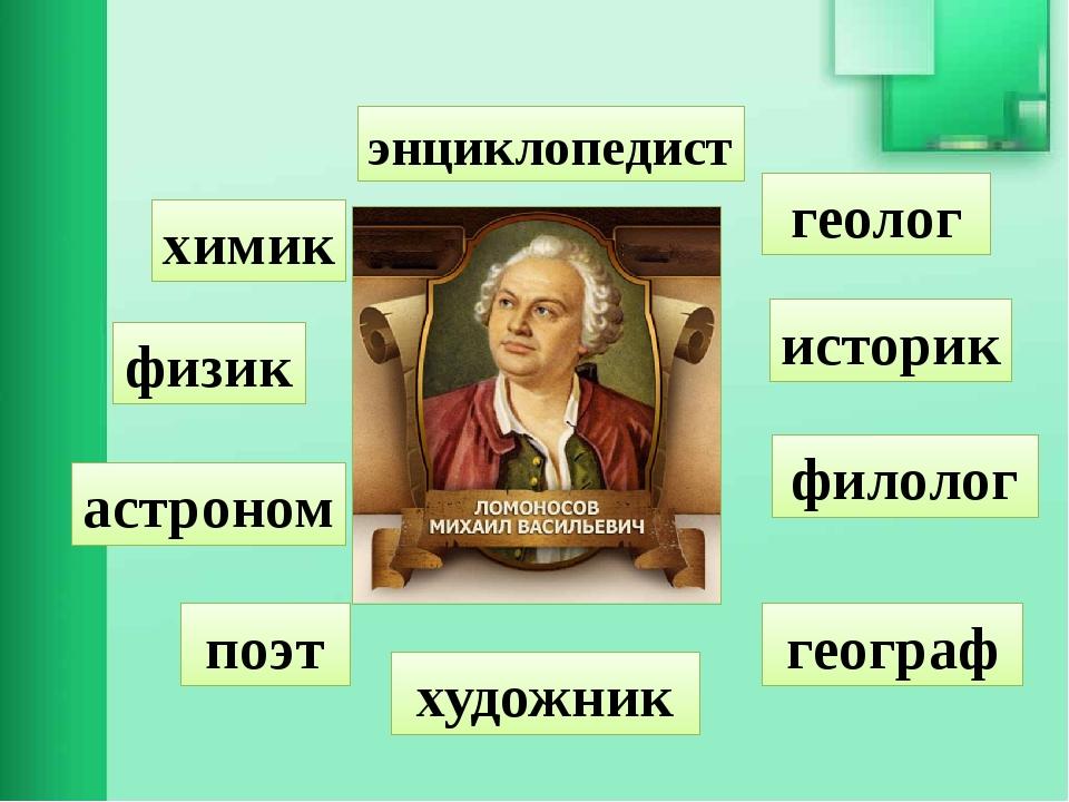 химик поэт физик геолог географ астроном филолог художник историк энциклопедист