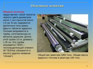 * Общий вес реактора 1850 тонн. Общая масса ядерного топлива в реакторе 190 т