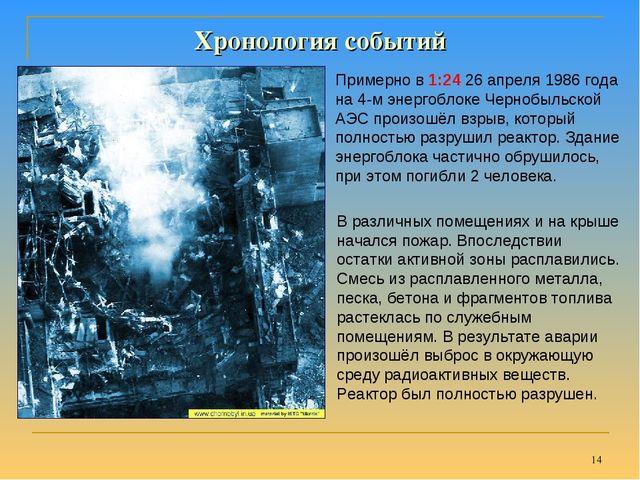 * Хронология событий Примерно в 1:24 26 апреля 1986 года на 4-м энергоблоке...