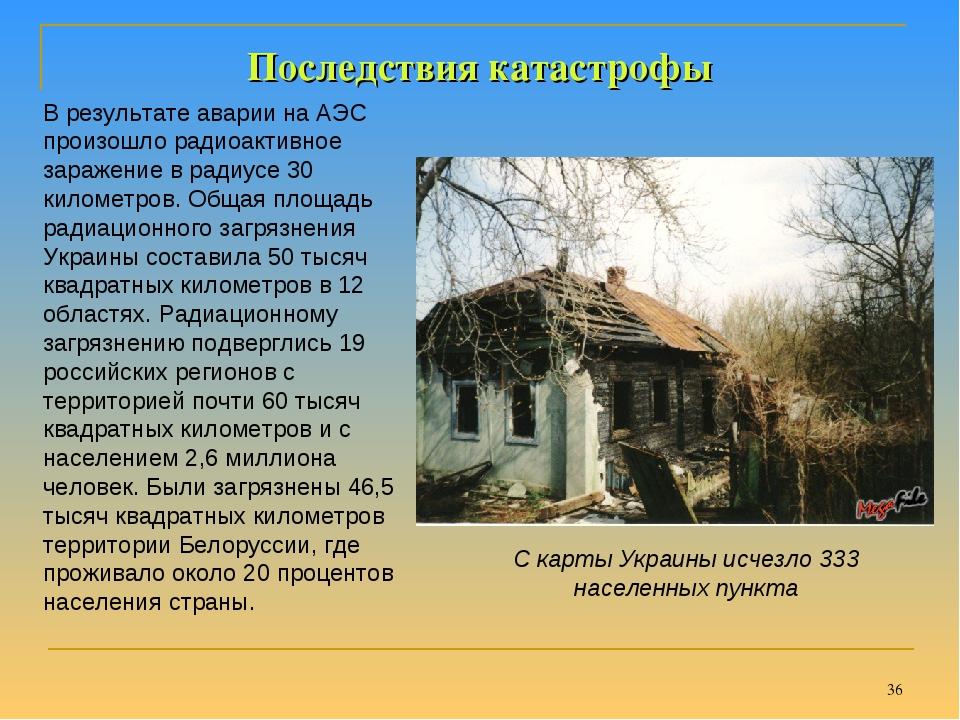 * Последствия катастрофы В результате аварии на АЭС произошло радиоактивное з...