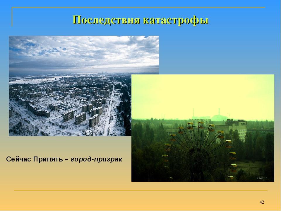 * Последствия катастрофы Сейчас Припять – город-призрак