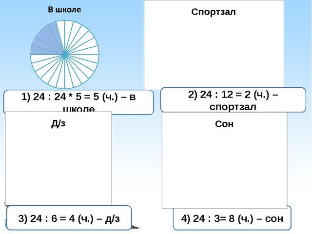 1) 24 : 24 * 5 = 5 (ч.) – в школе 2) 24 : 12 = 2 (ч.) – спортзал 3) 24 : 6 =...