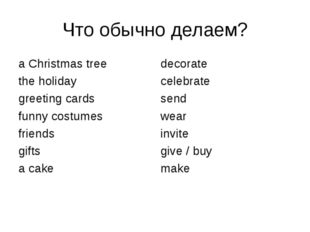 Что обычно делаем? a Christmas tree the holiday greeting cards funny costumes