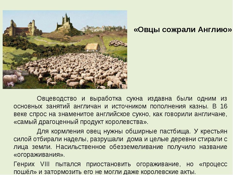 Овцеводство и выработка сукна издавна были одним из основных занятий англича...