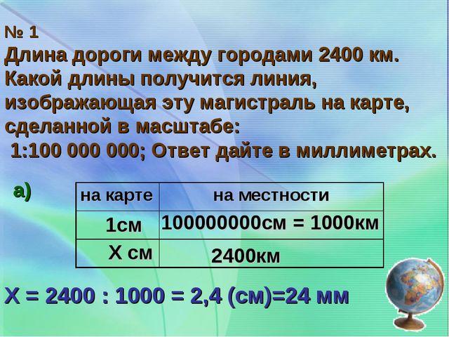 № 1 Длина дороги между городами 2400 км. Какой длины получится линия, изображ...