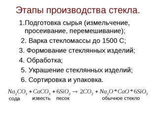 Этапы производства стекла. 1.Подготовка сырья (измельчение, просеивание, пере