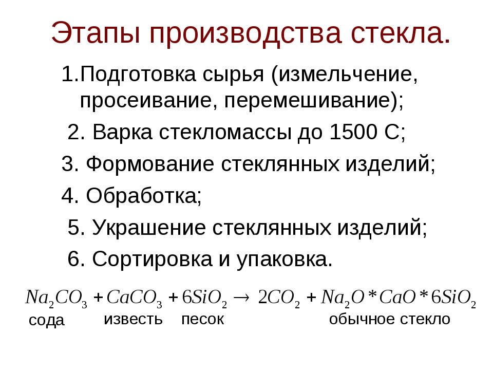 Этапы производства стекла. 1.Подготовка сырья (измельчение, просеивание, пере...