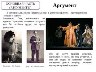 Аргумент В комедии А.П.Чехова «Вишневый сад» в центре конфликта – противосто